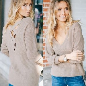 Strappy Open Back Sweater In Taupe